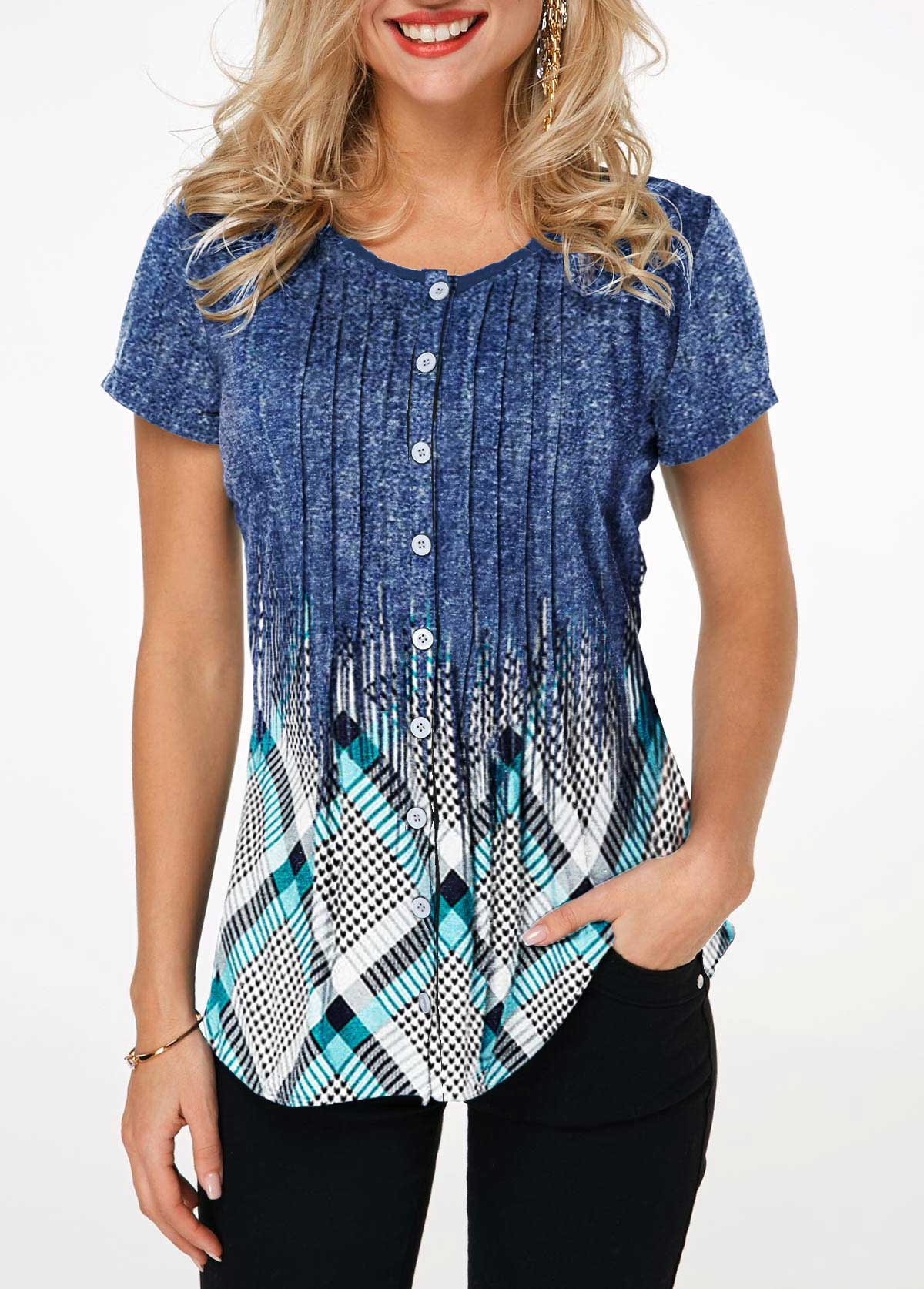 Button Up Geometric Print Crinkle Chest Shirt