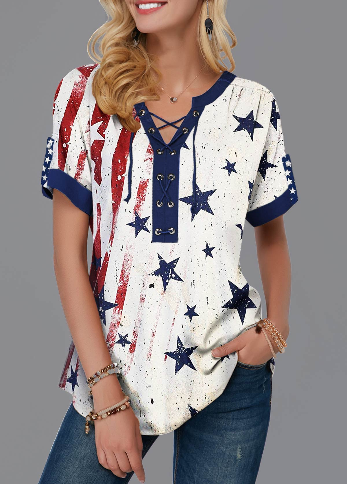 Lace Up Front Notch Neck American Flag Print T Shirt