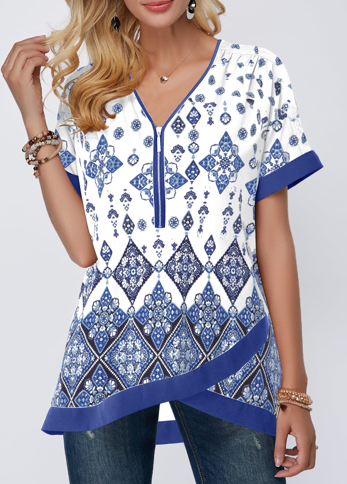 Printed Crossover Hem Quarter Zip Blouse