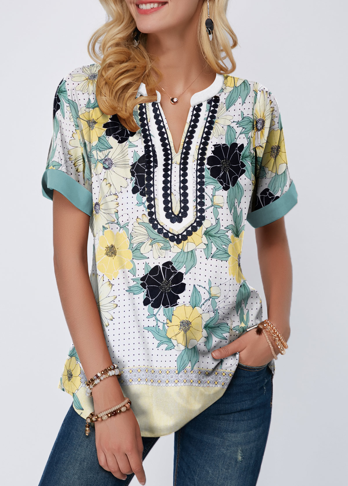 Split Neck Printed Short Sleeve Blouse