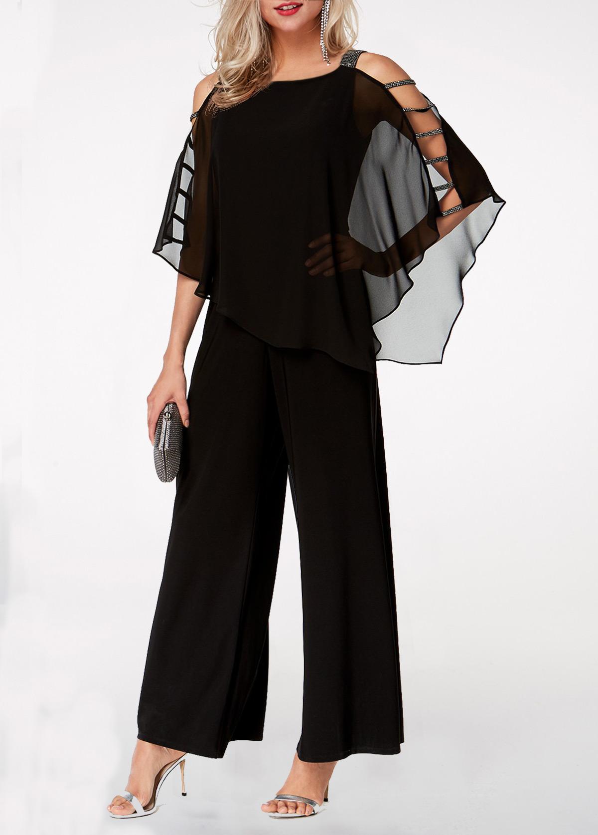 Black Ladder Cutout Sleeve Chiffon Overlay Jumpsuit