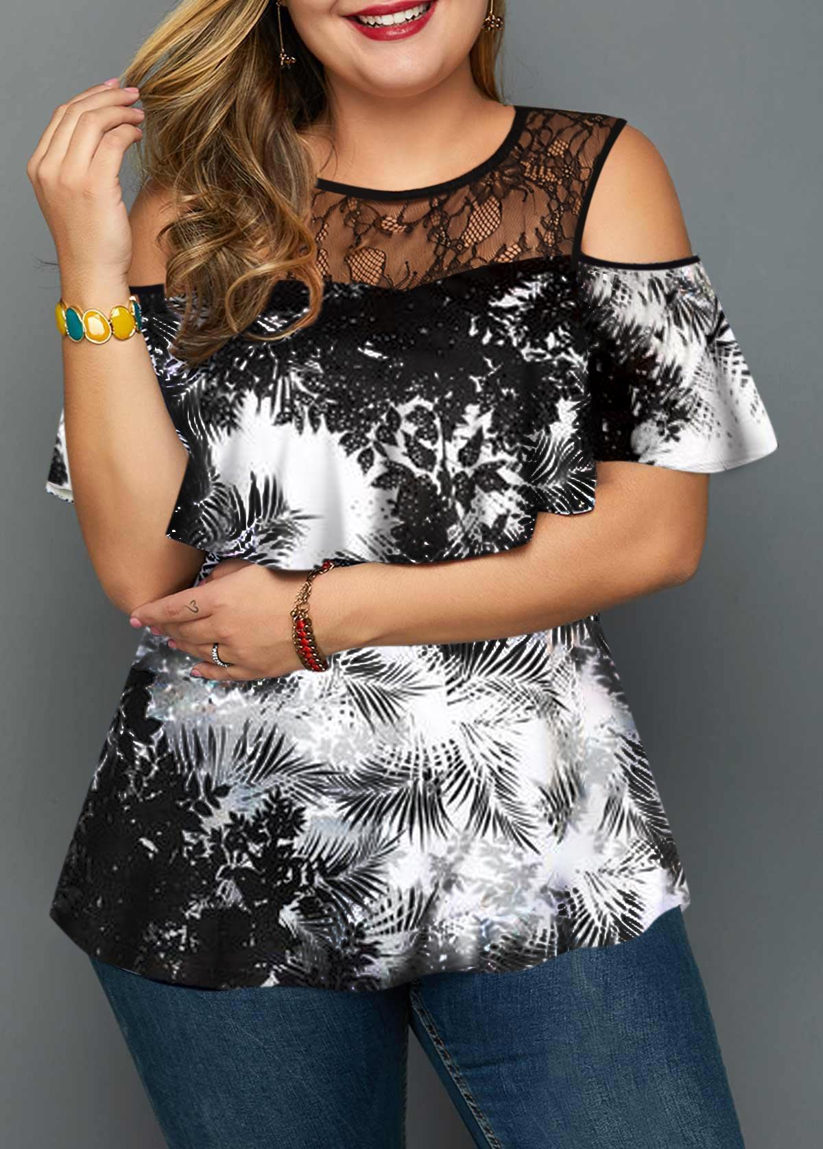 Plus Size Cold Lace Patchwork Shoulder Printed Blouse