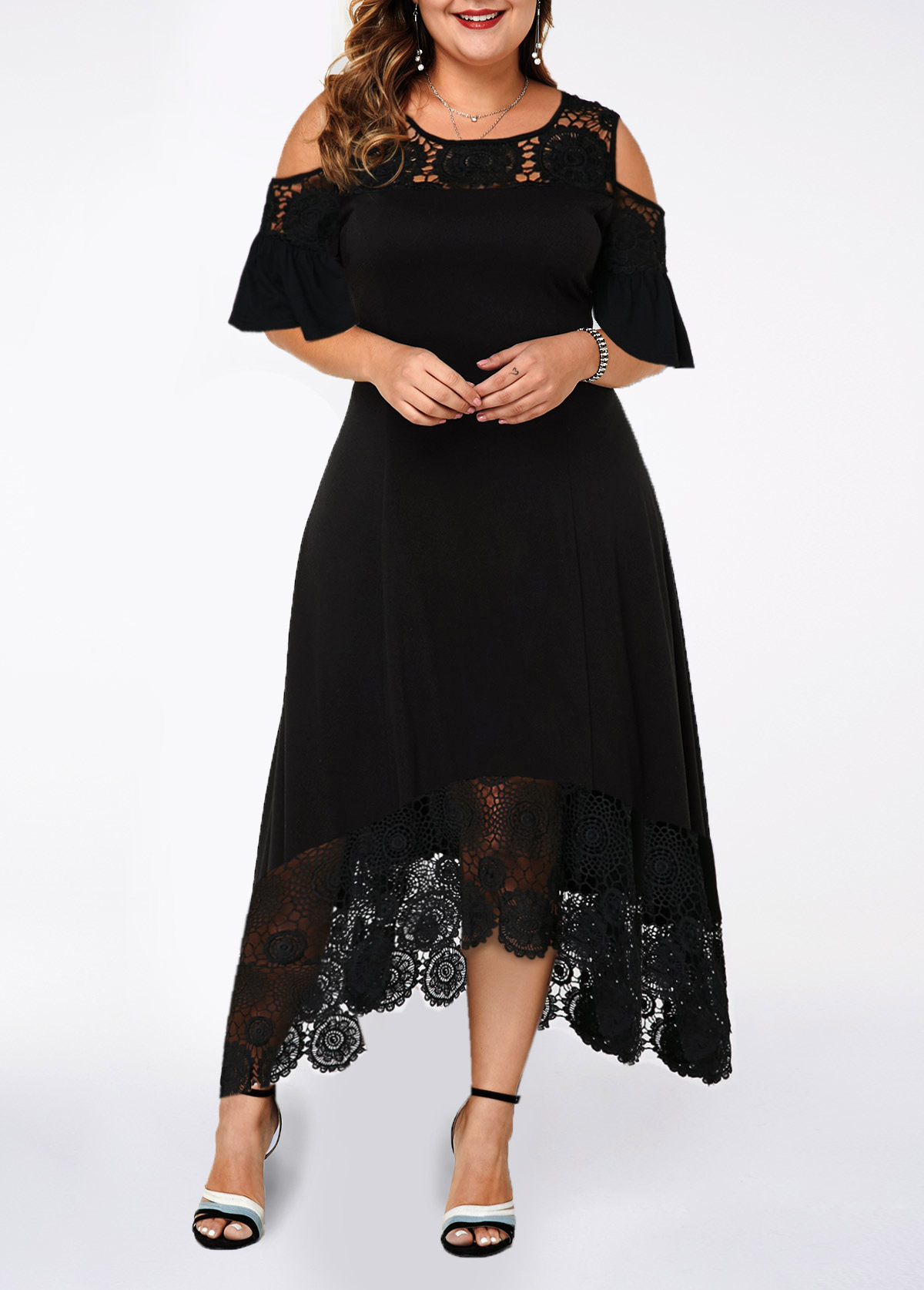 Cold Shoulder Lace Patchwork Plus Size Dress