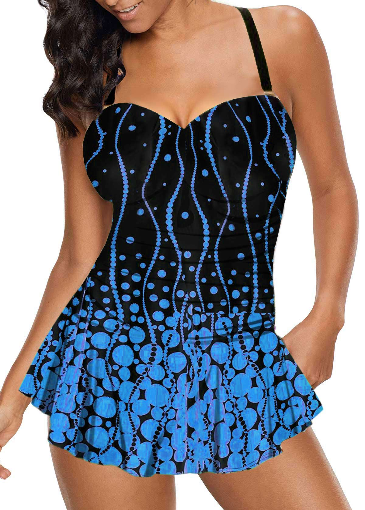 Spaghetti Strap Polka Dot Print Swimdress and Panty