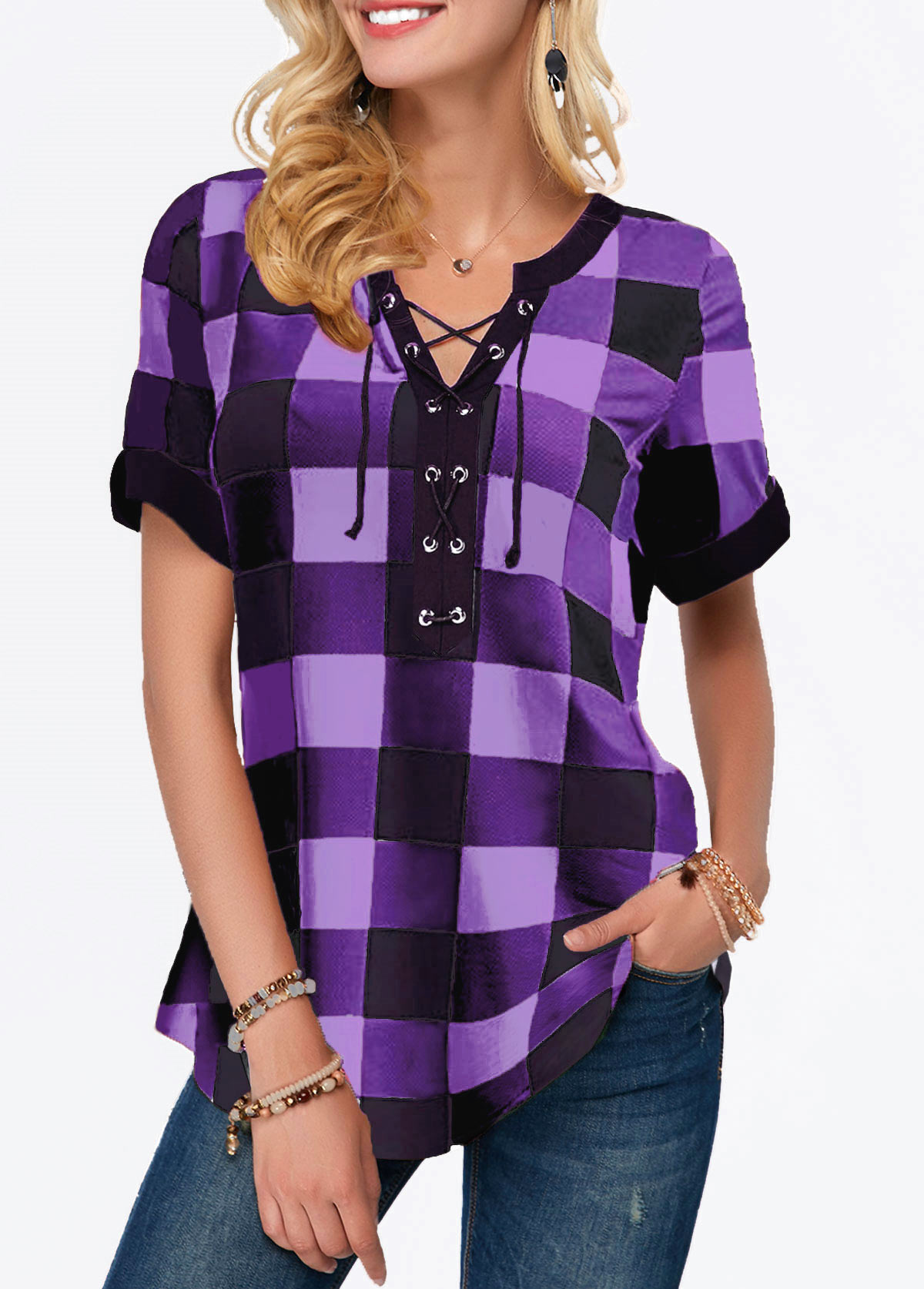 Short Sleeve Split Neck Plaid Print Blouse