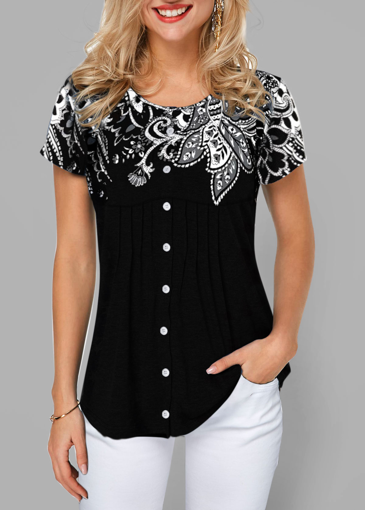 Short Sleeve Button Front Flower Print T Shirt
