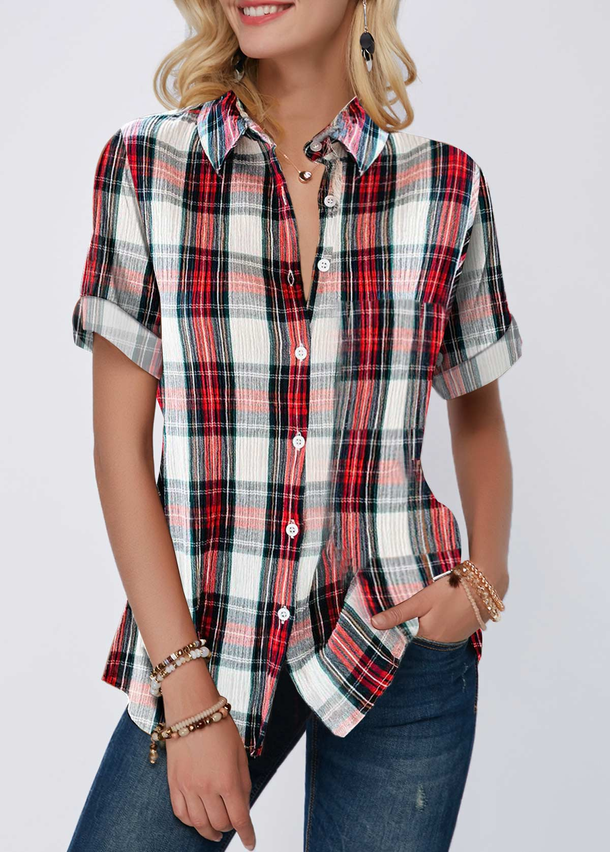 Plaid Print Roll Tab Sleeve Turndown Collar Shirt