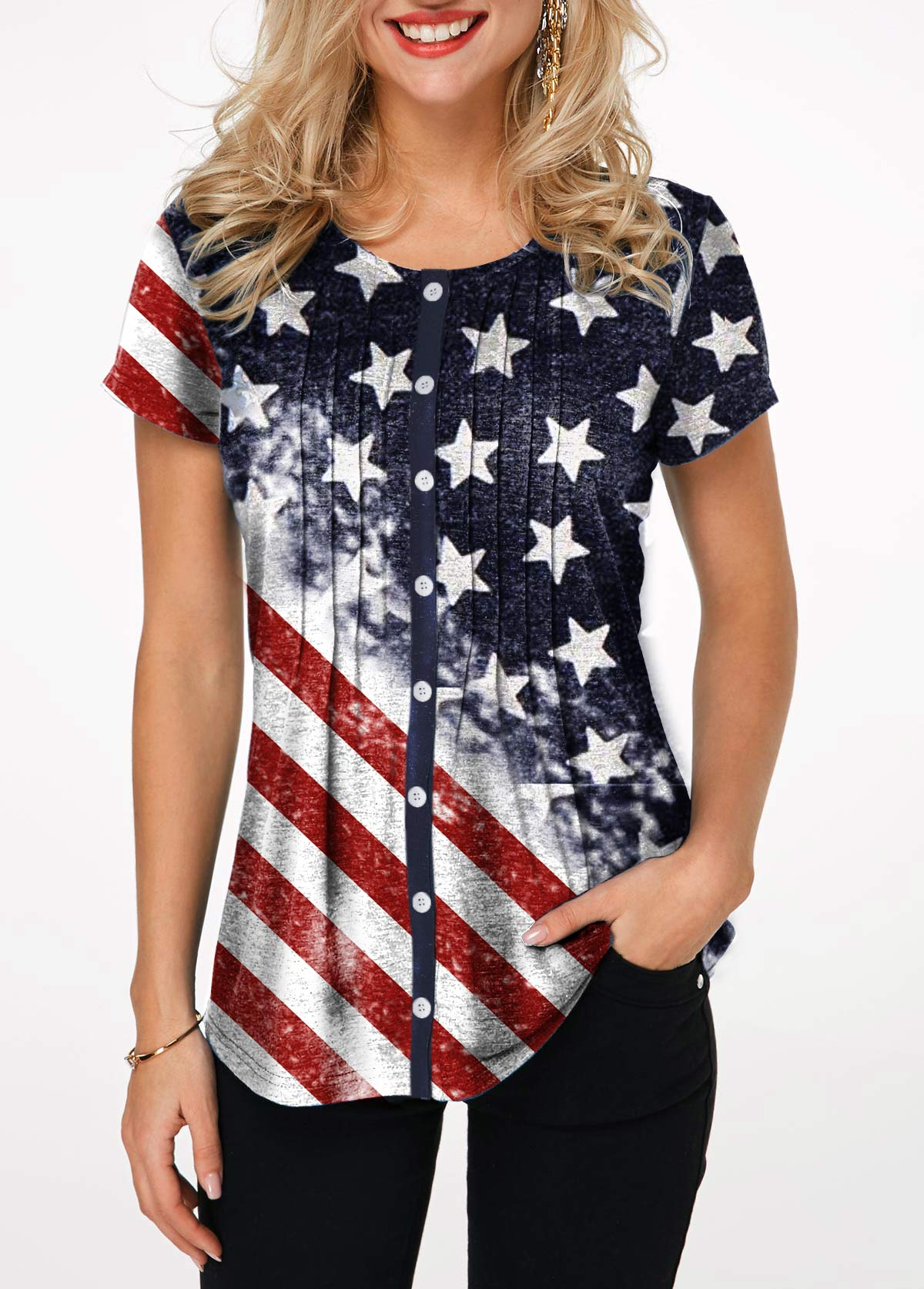 American Flag Print Crinkle Chest Button Up T Shirt