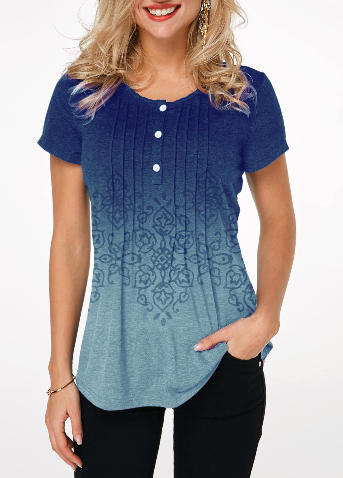 Gradient Button Detail Crinkle Chest Printed T Shirt