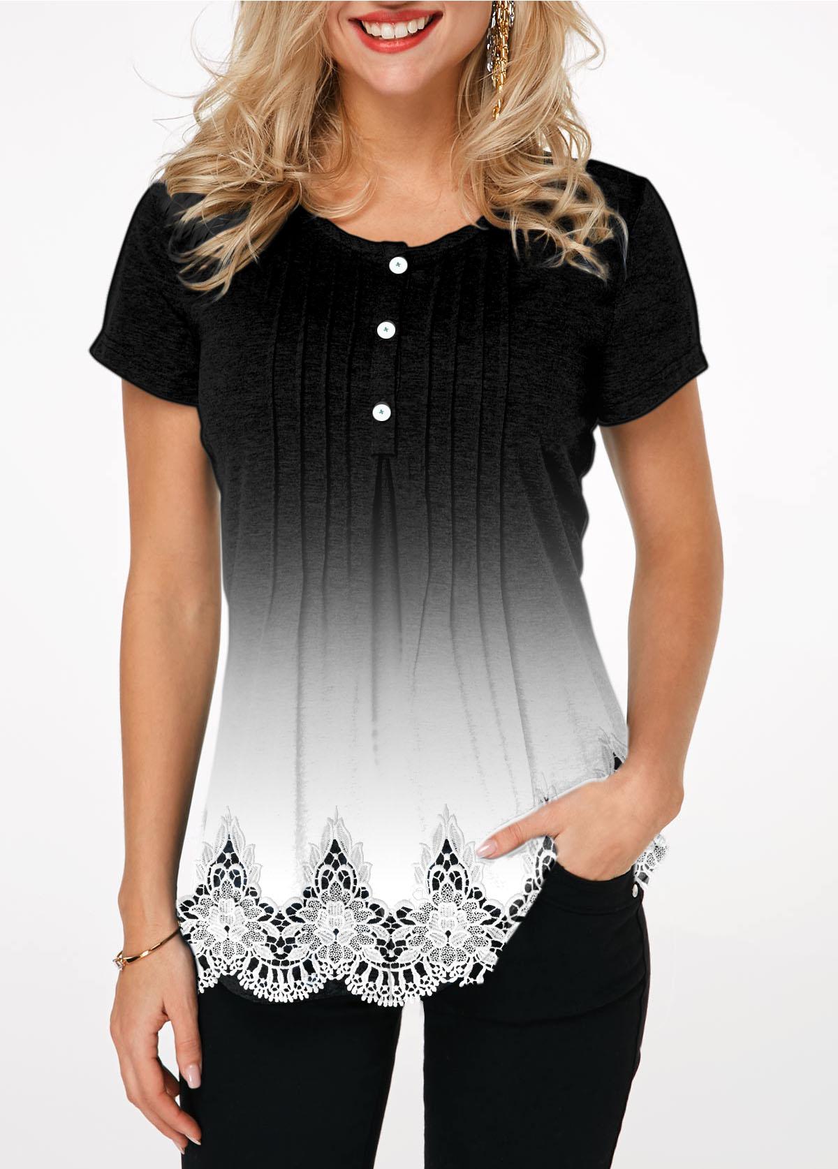 Lace Panel Scalloped Hem Crinkle Chest T Shirt