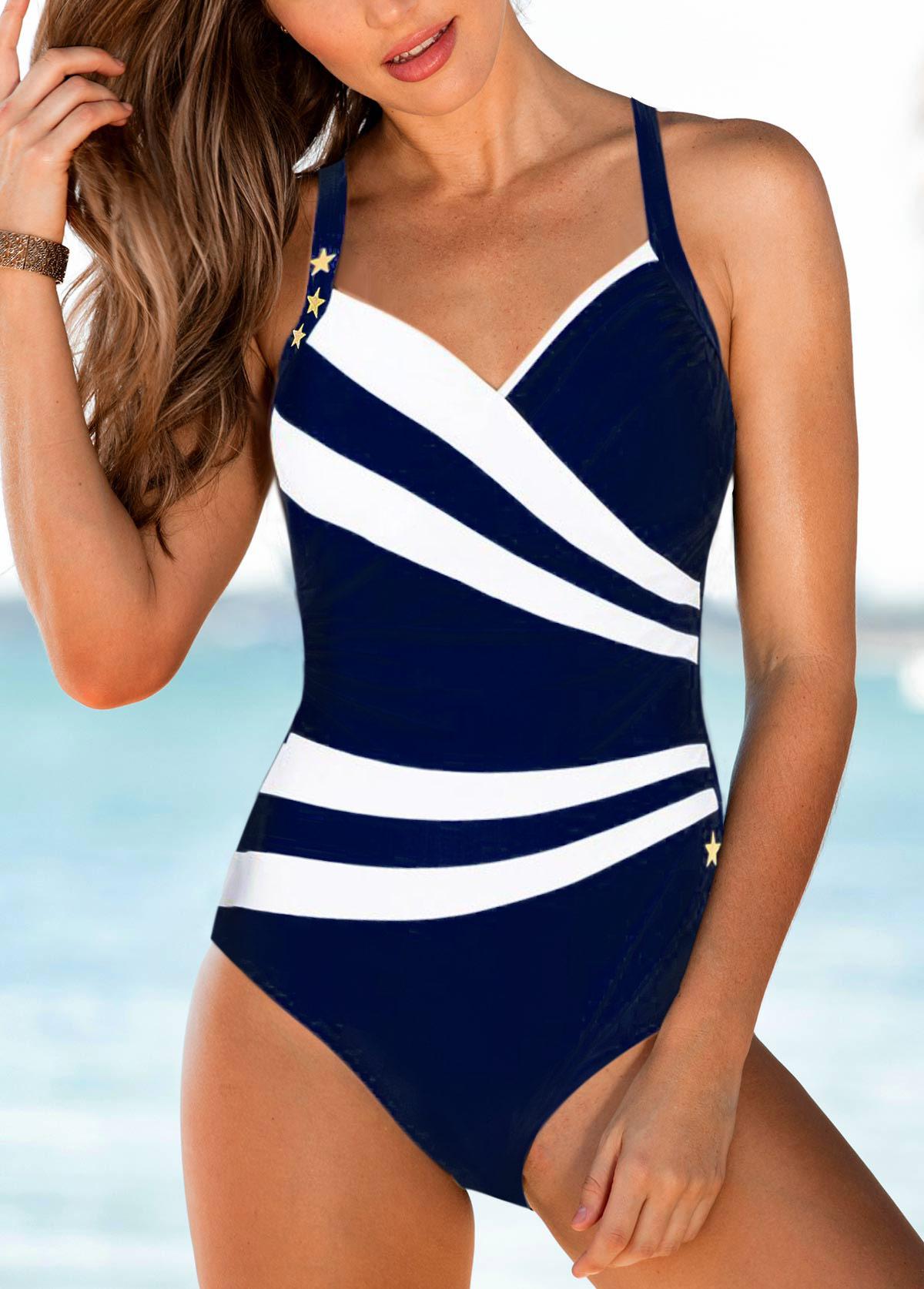 Spaghetti Strap Open Back Navy Blue One Piece Swimwear