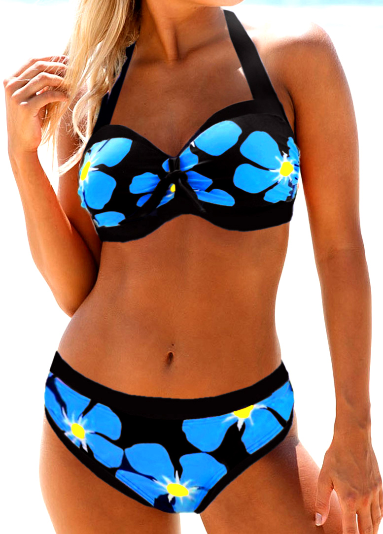 ROTITA Halter Neck Flower Print Bikini Set