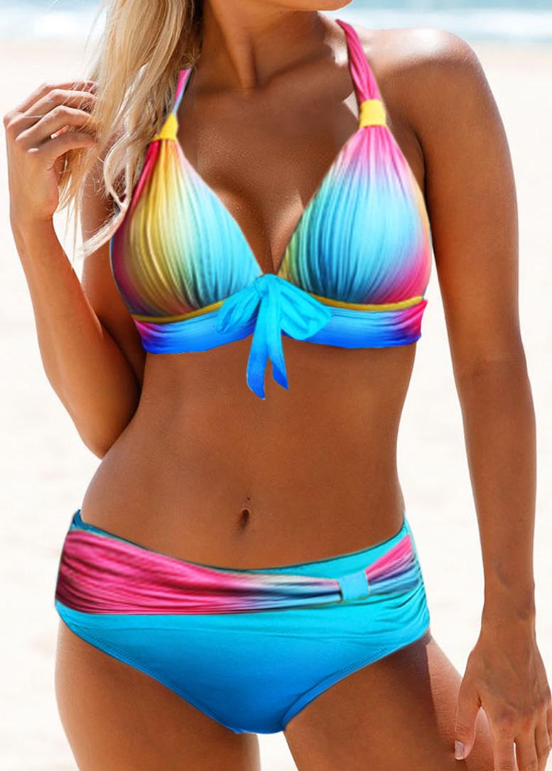Tie Front Printed Halter Neck Bikini Set