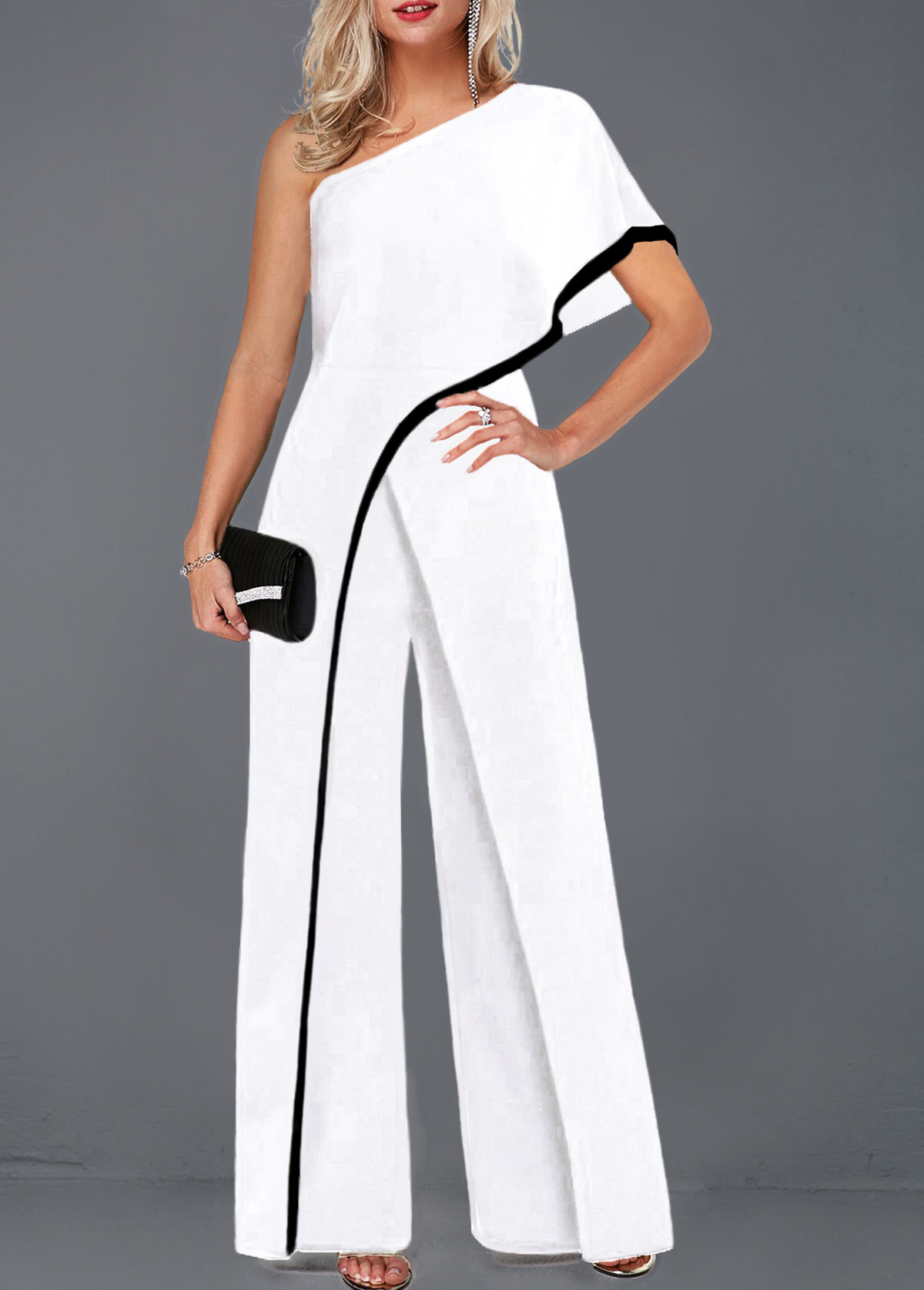 One Sleeve Contrast Piping White Jumpsuit