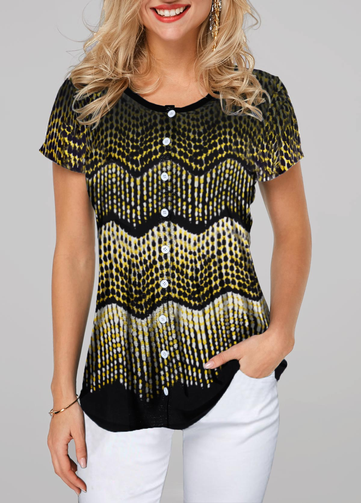Button Up Short Sleeve Printed T Shirt