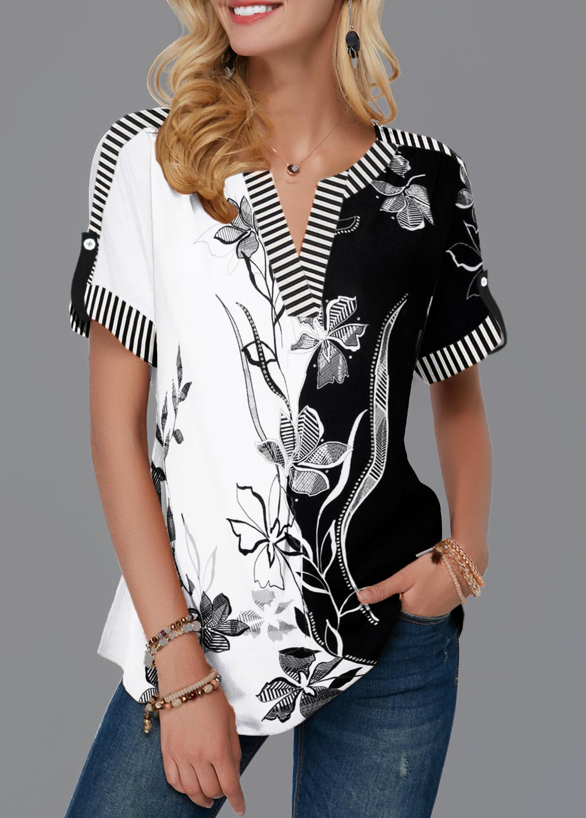 Roll Tab Sleeve Split Neck Flower Print Blouse