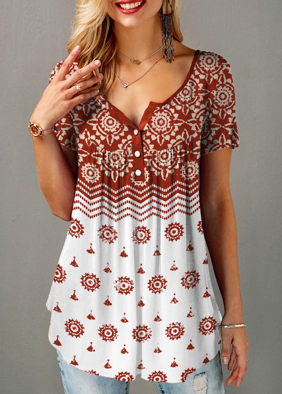 Short Sleeve Half Button Tribal Print Blouse