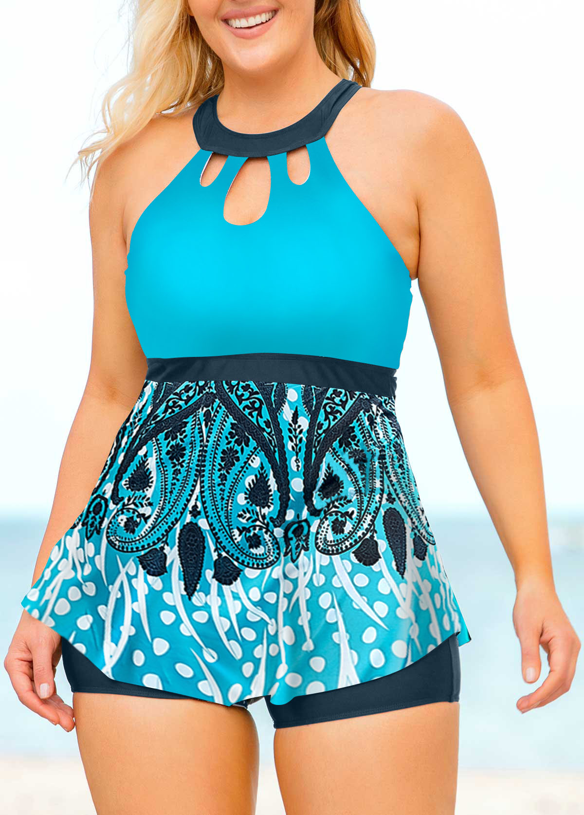 Plus Size Printed Cage Back High Neck Tankini Set