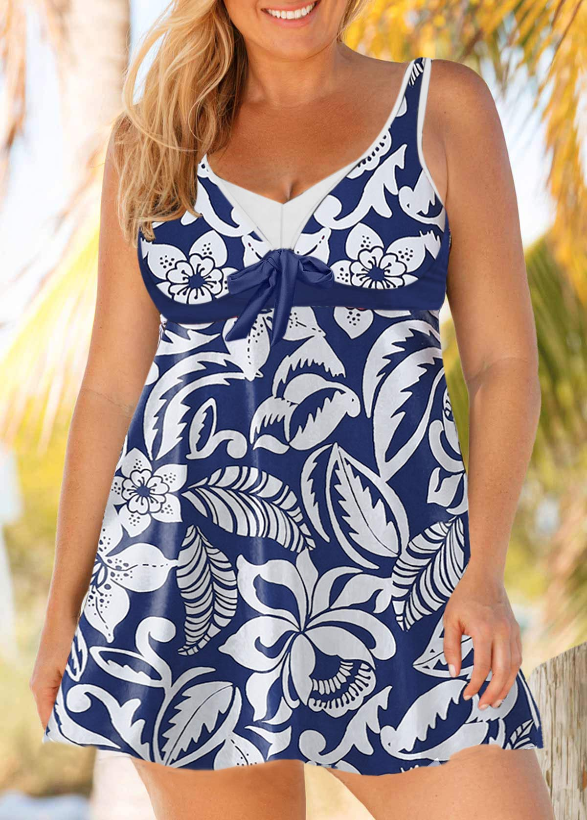 Plus Size Printed Keyhole Back Tie Front Swimdress and Shorts