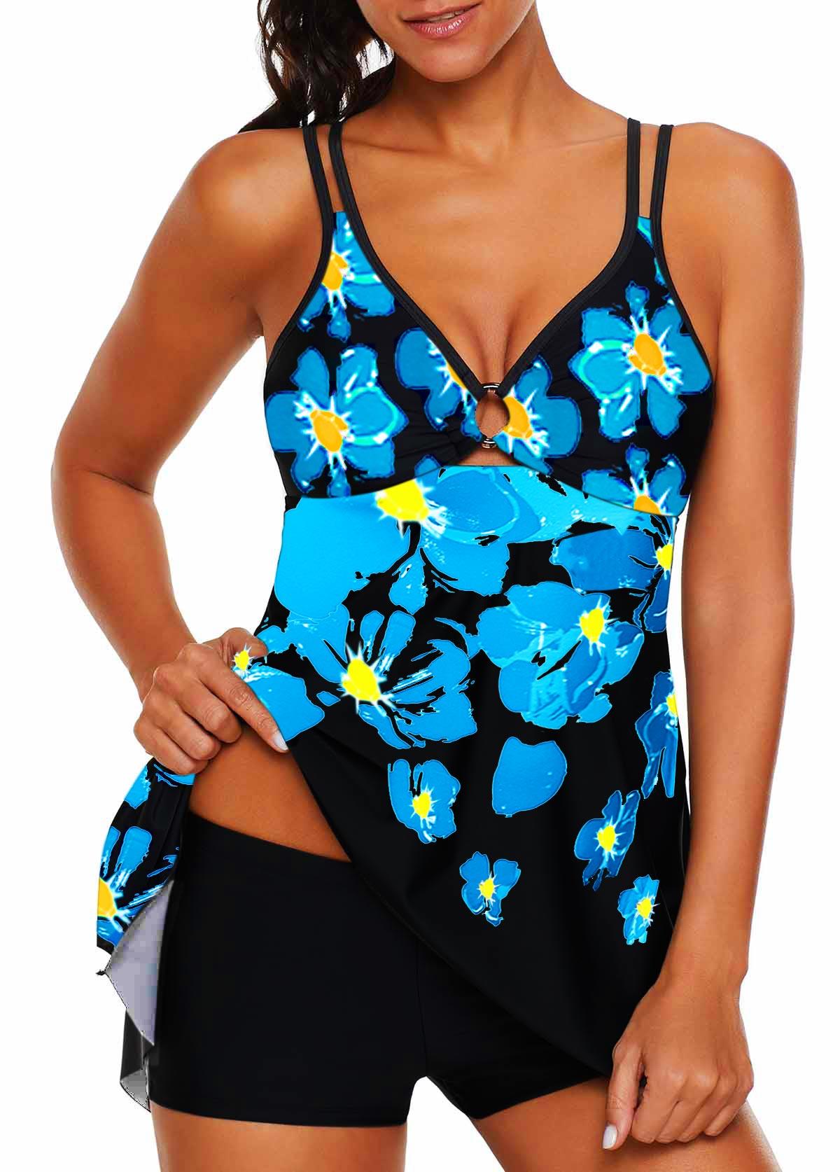 Double Strap Asymmetric Hem Flower Print Swimdress and Shorts