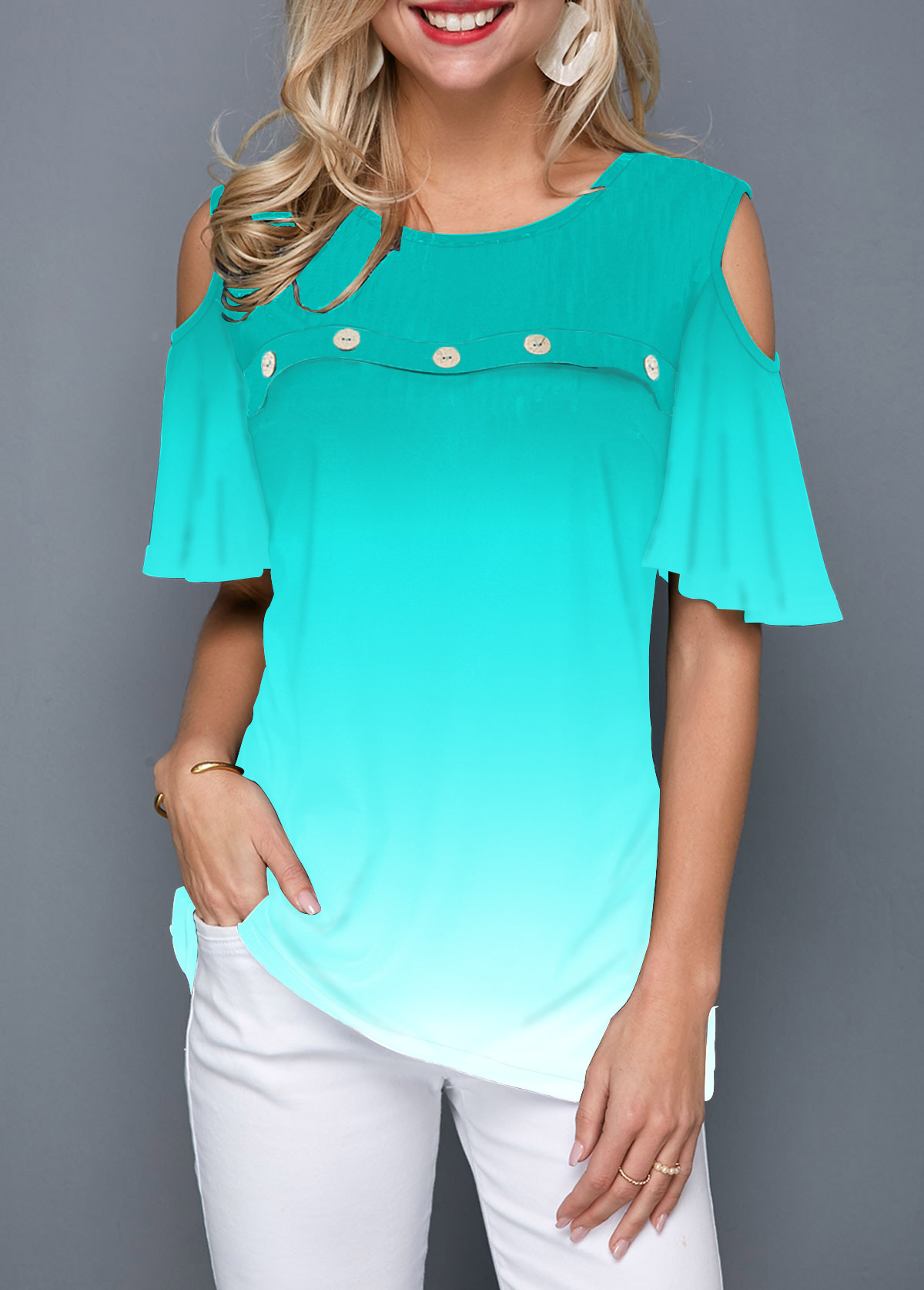 Cold Shoulder Button Front Gradient T Shirt