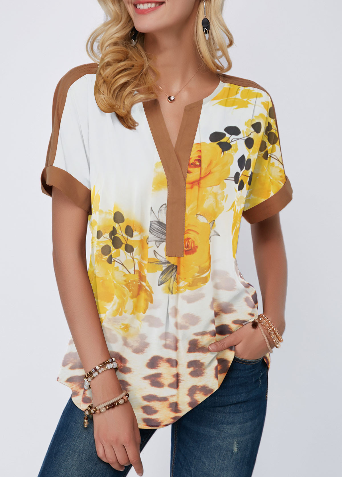 Flower and Leopard Print Short Sleeve Blouse