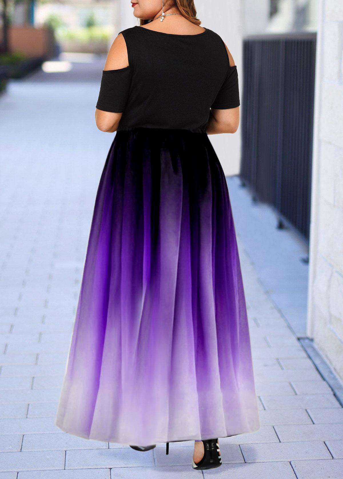 Plus Size Cold Shoulder Short Sleeve Gradient Dress