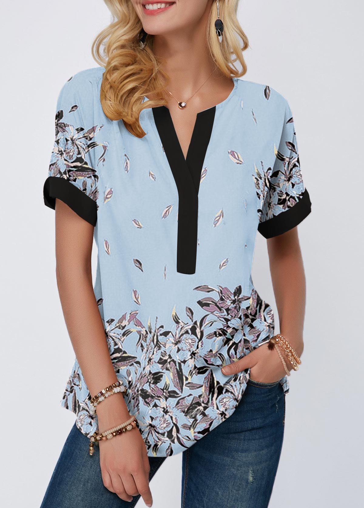 Contrast Piping Notch Neck Floral Print T Shirt