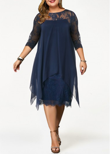 Plus Size Lace Panel Overlay Navy Blue Dress