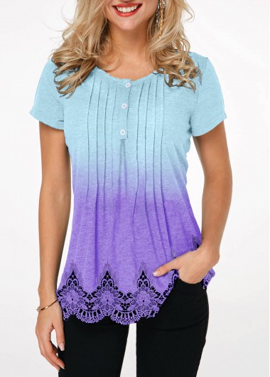f70477bed994ce Quick Shop. Added Successfully. Scalloped Hem Crinkle Chest Lace Patchwork  T Shirt