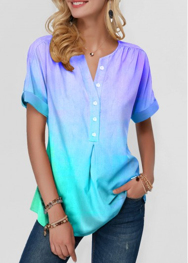 Short Sleeve Button Front Curved Hem Blouse