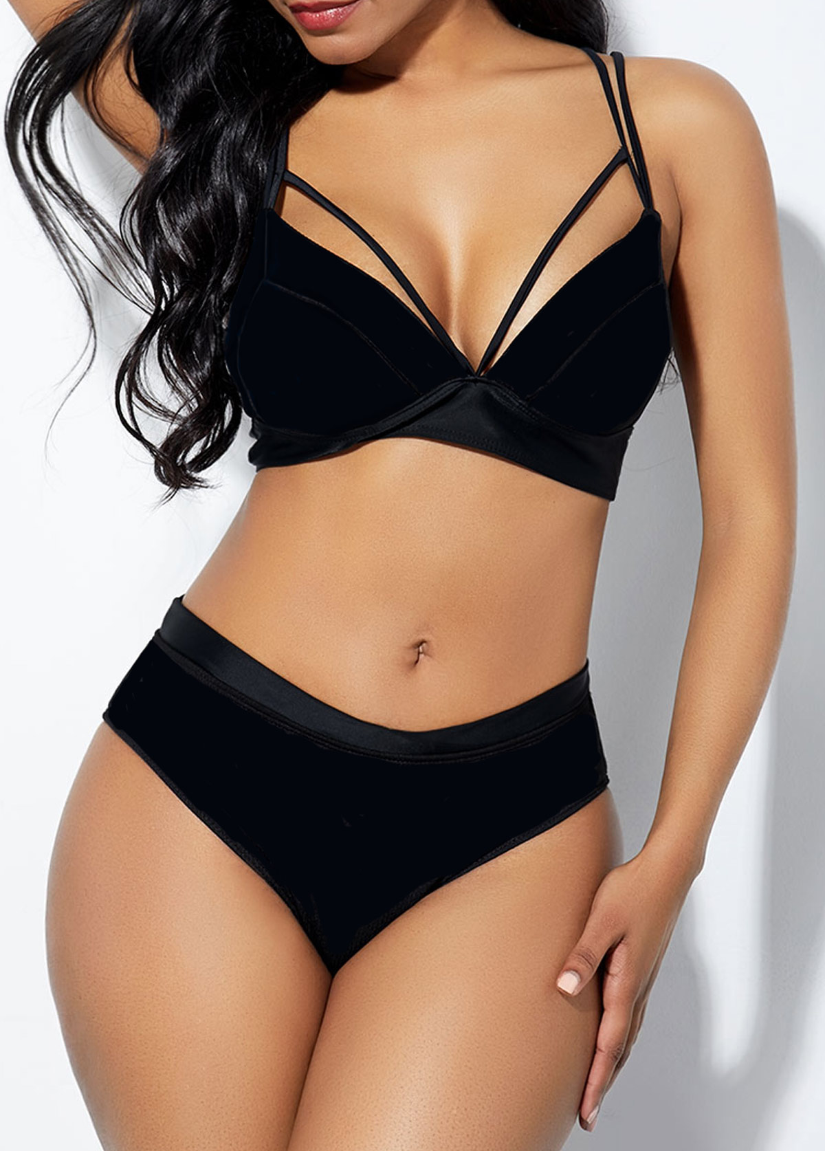 Strappy Back Black Bikini Bra and Panty