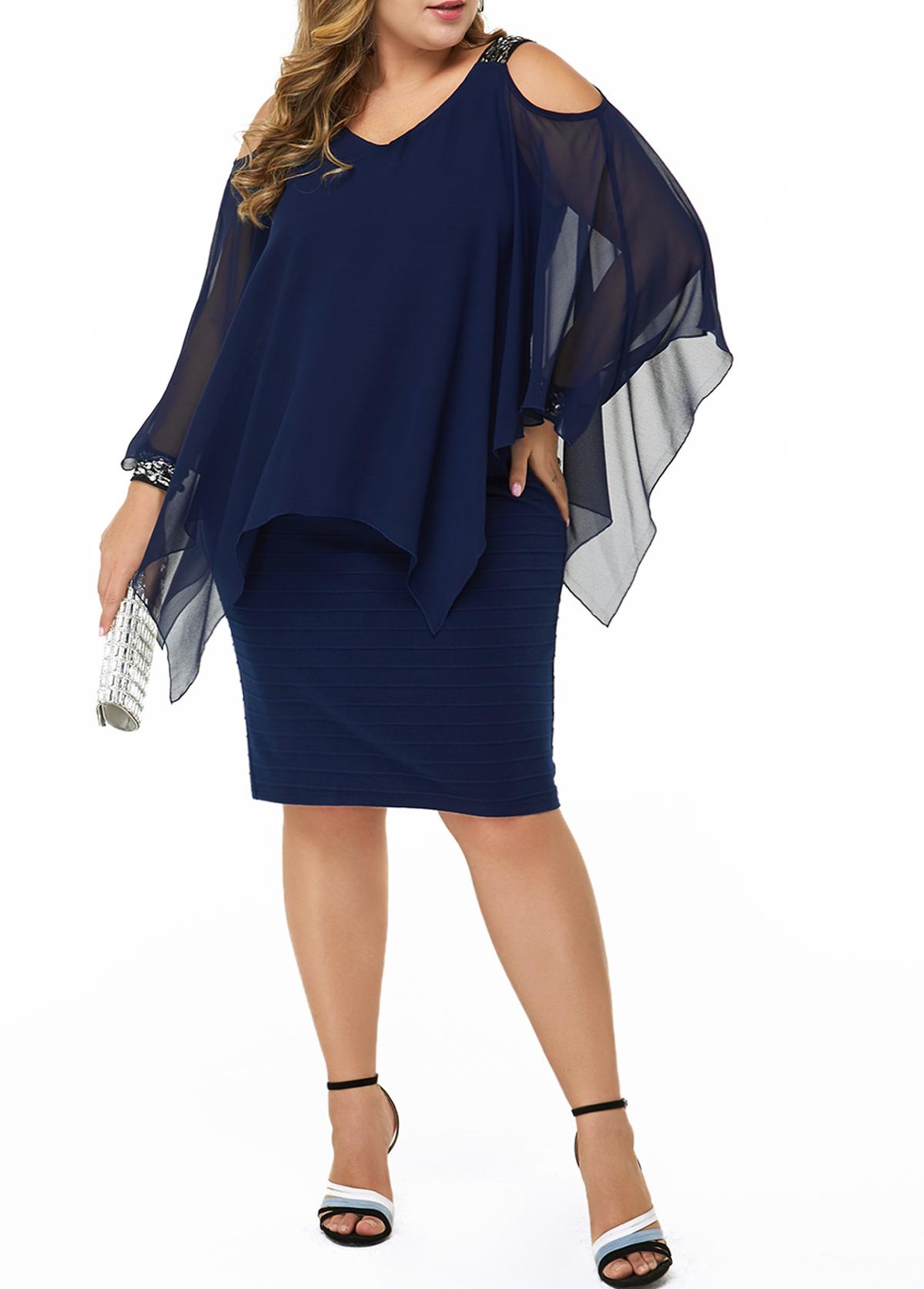 Plus Size Cold Shoulder Sequin Embellished Dress