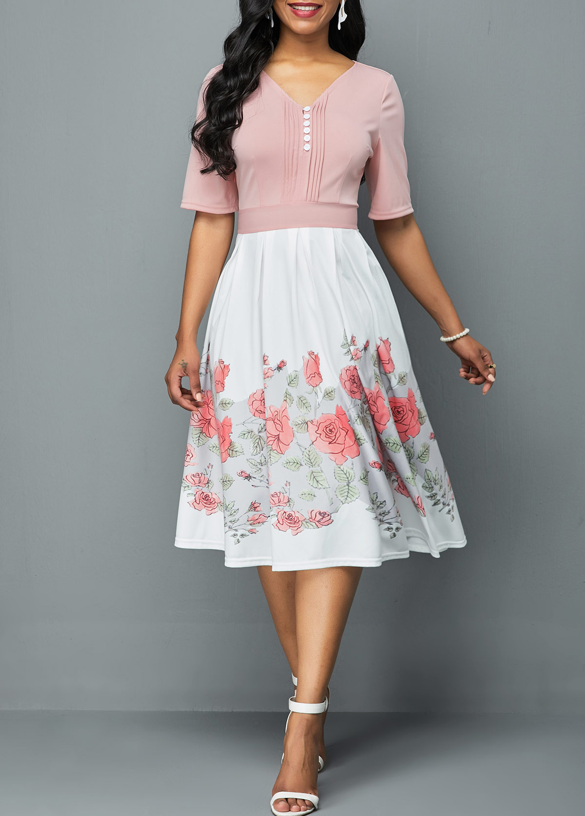 Half Sleeve Crinkle Chest Flower Print Dress