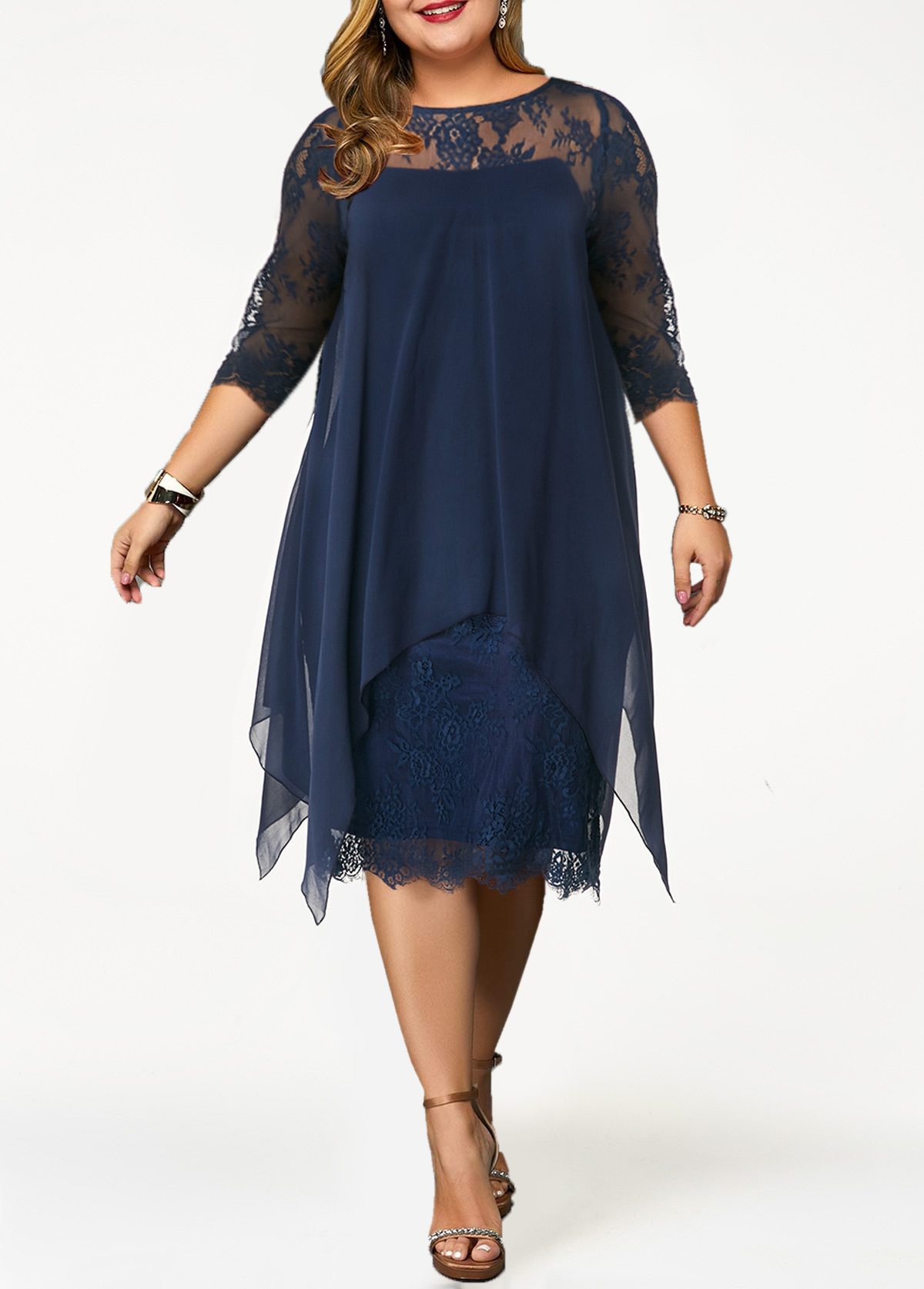 Plus Size Lace Panel Overlay Navy Blue Dress