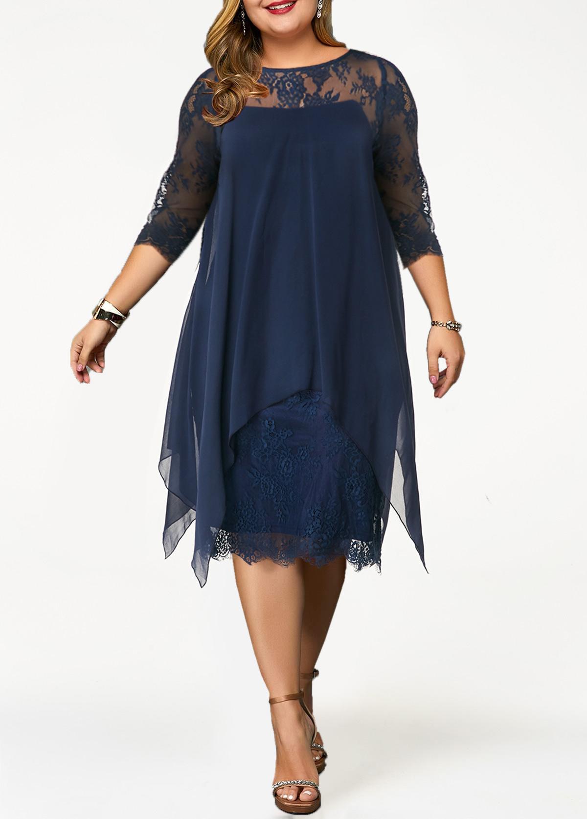 ROTITA Plus Size Lace Panel Overlay Navy Blue Dress