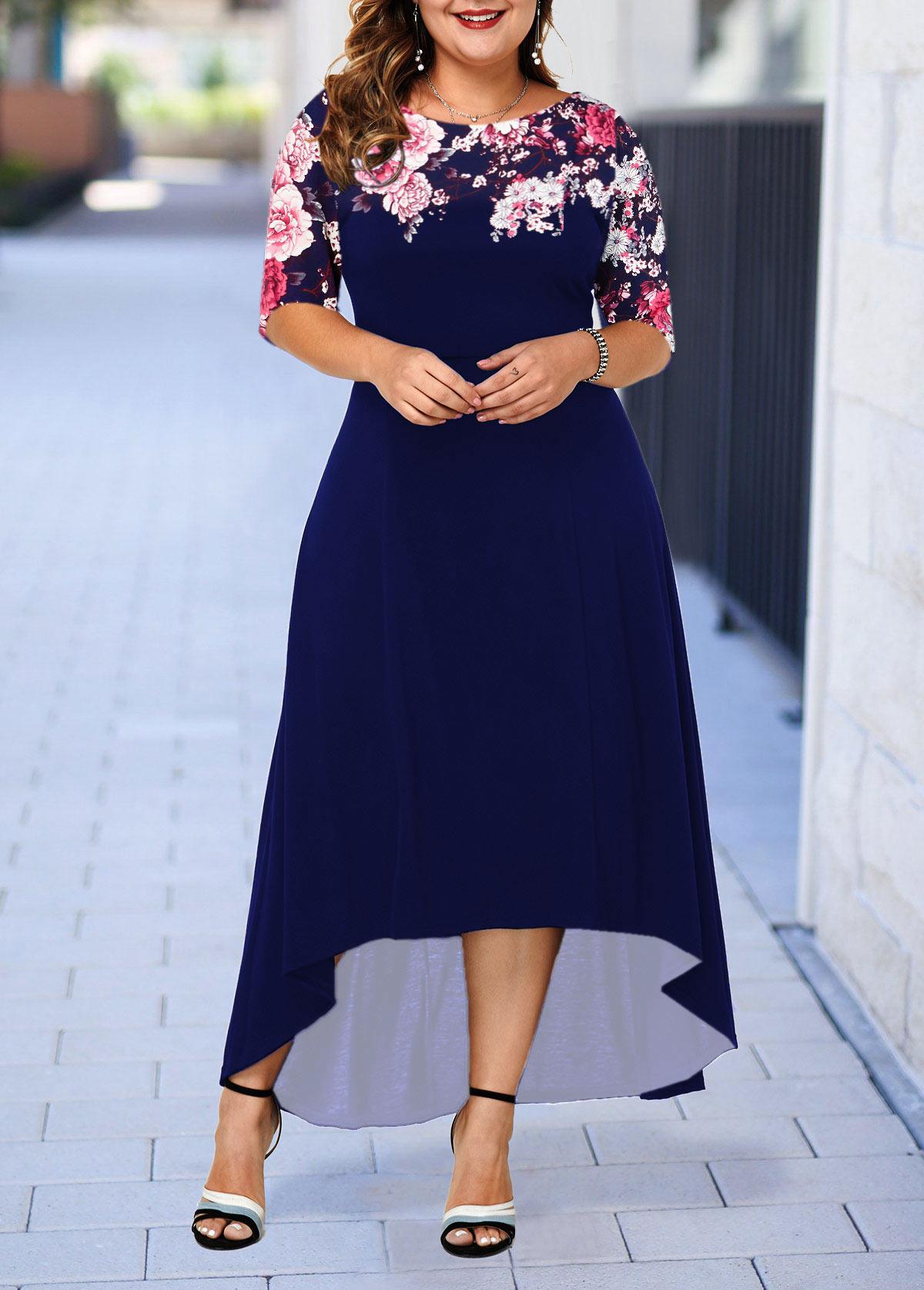 Plus Size Dip Hem Flower Print Dress