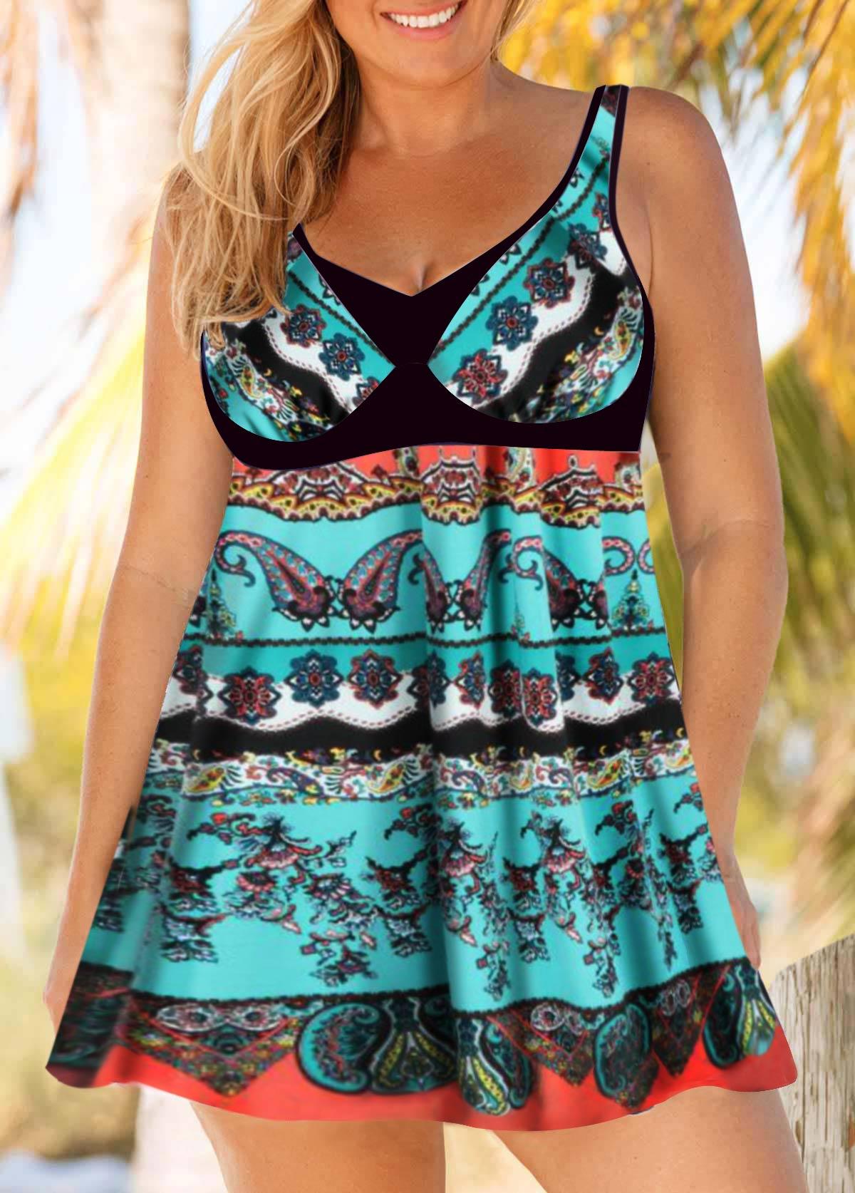 Plus Size Keyhole Back Sleeveless Printed Swimdress and Shorts