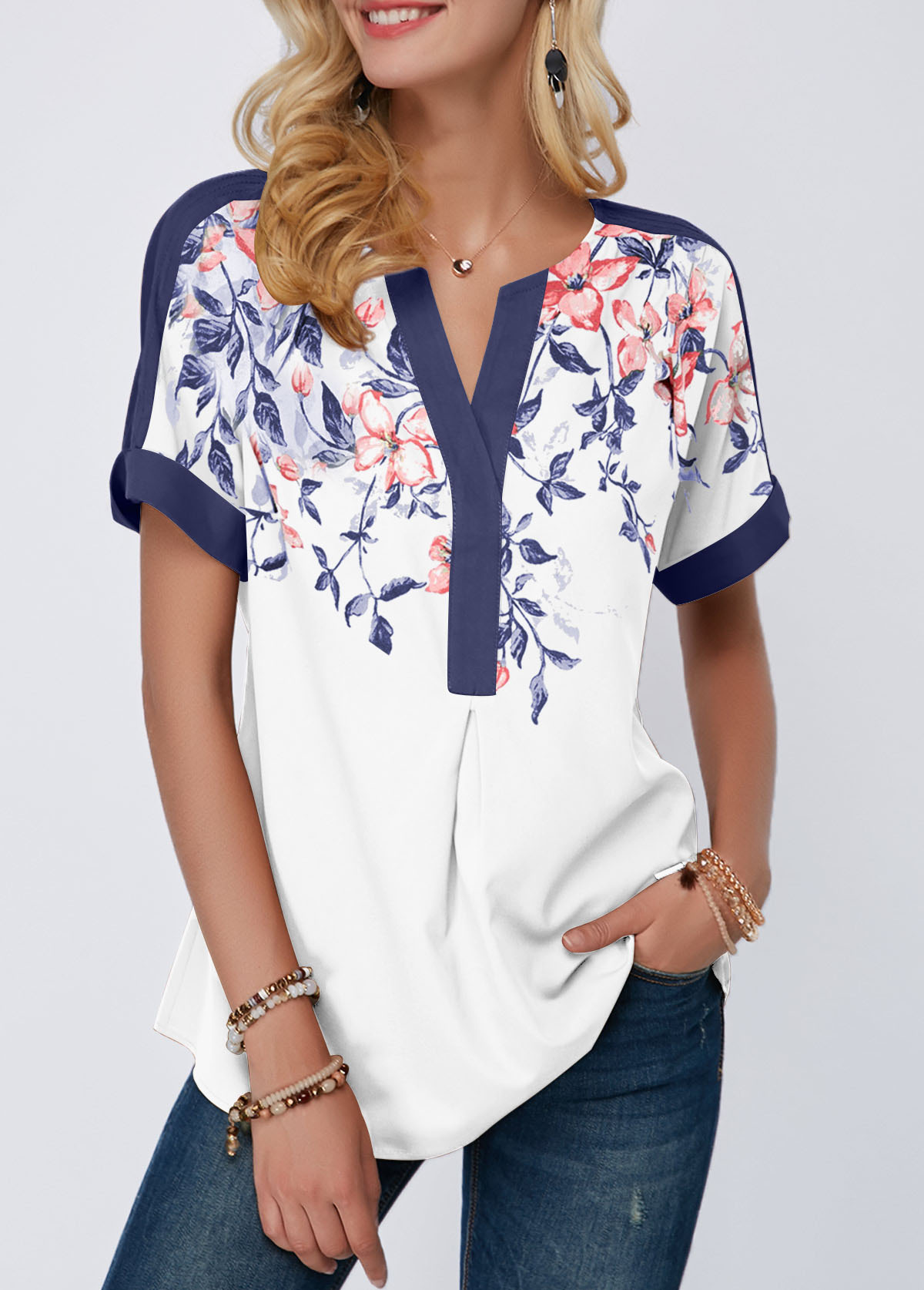 Split Neck Contrast Piping Floral Print Blouse