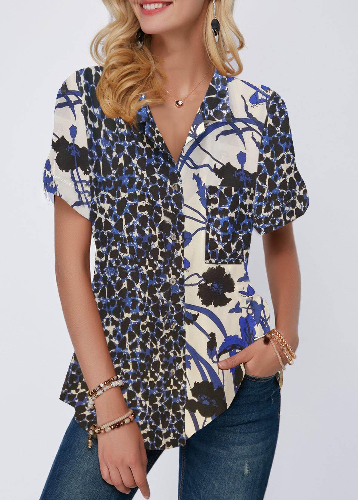 Curved Hem Button Up Leopard Print Shirt