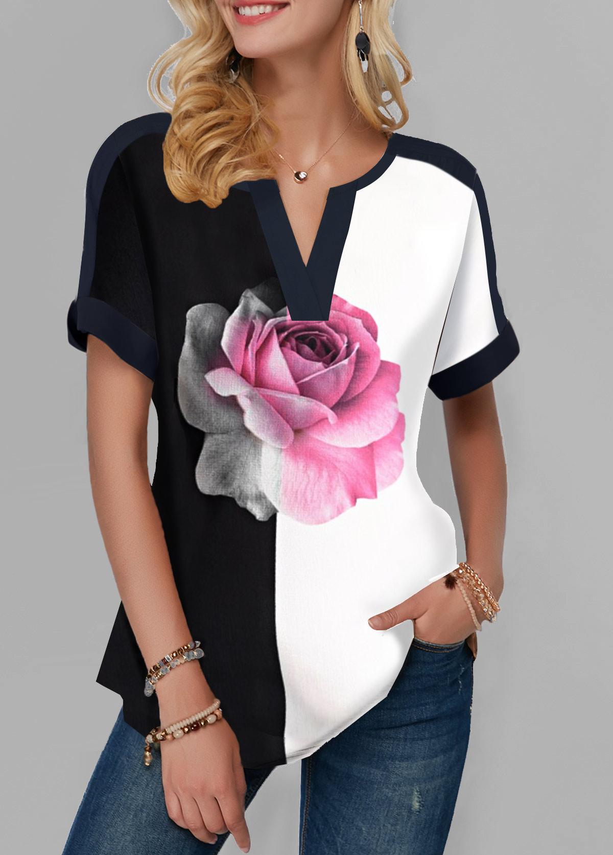 Rose Print Notch Neck Color Block T Shirt