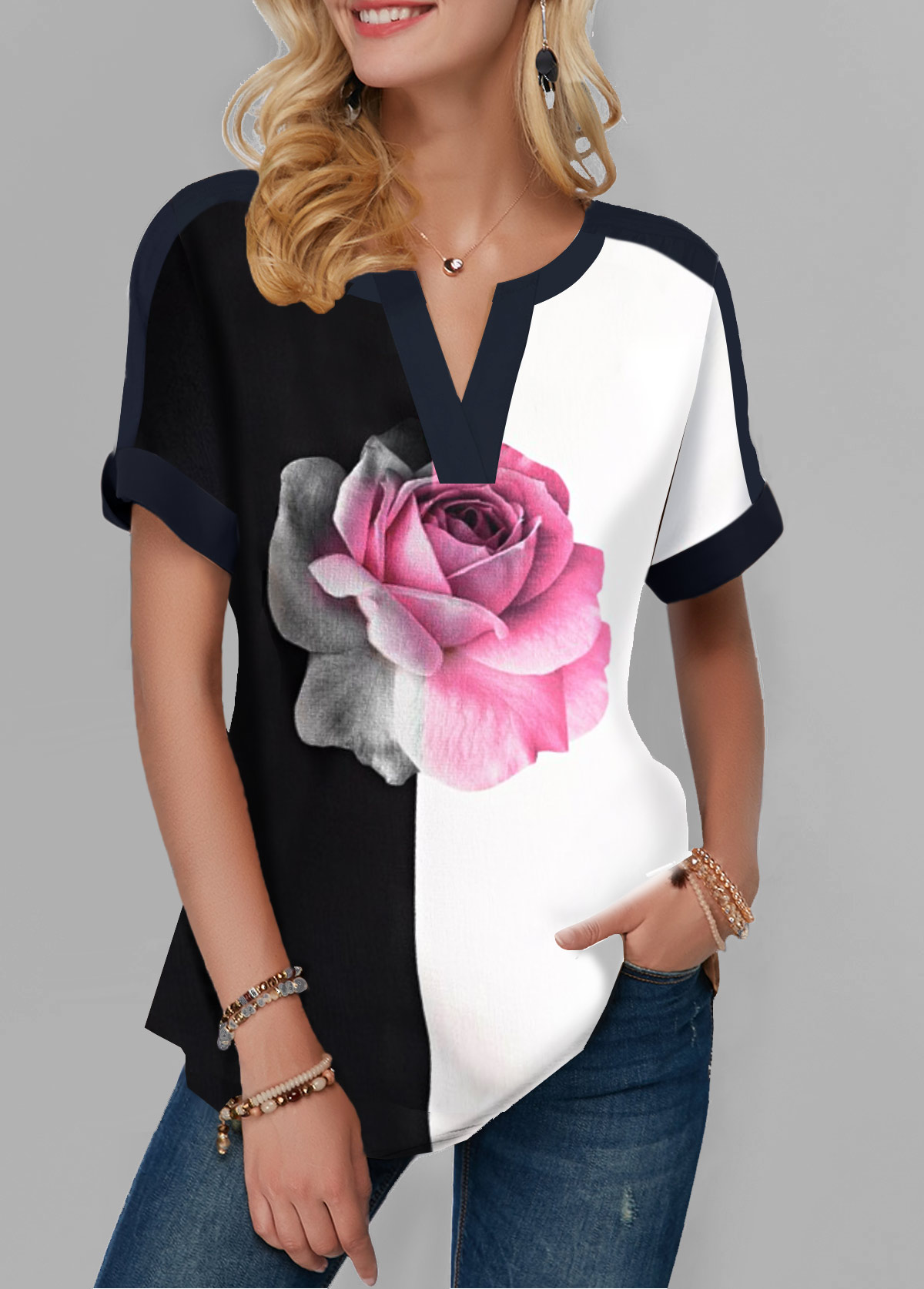 Rose Print Notch Neck Color Block T Shirt
