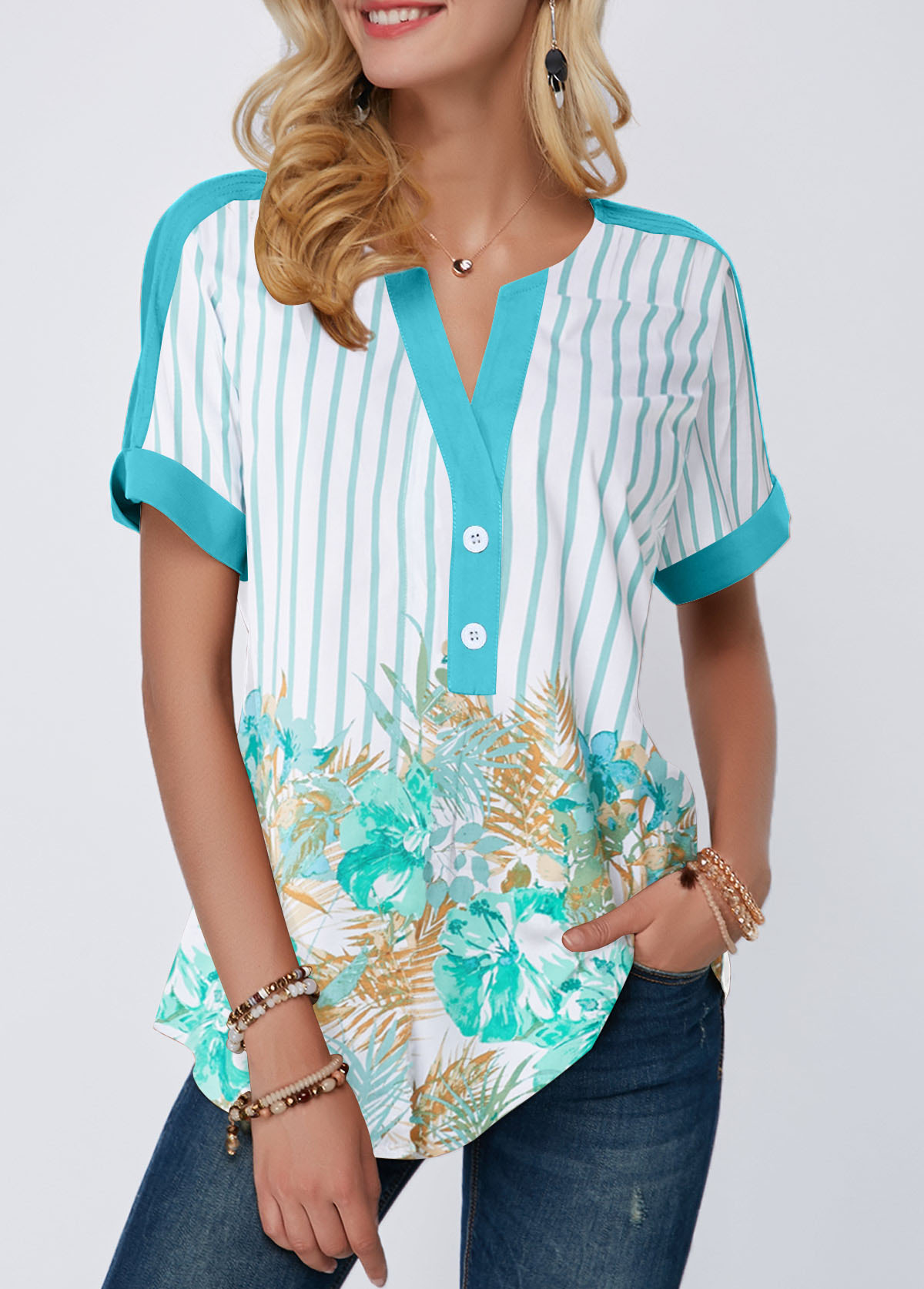 Split Neck Printed Contrast Piping Blouse