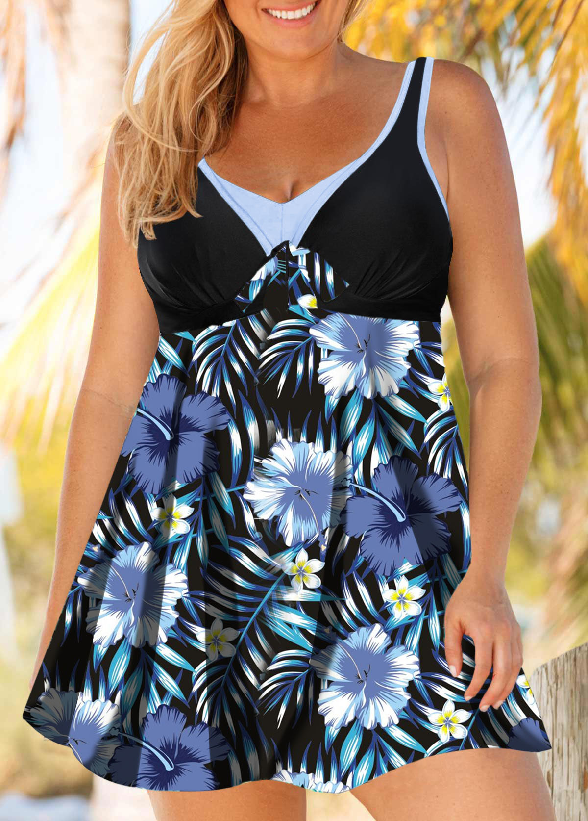 Plus Size Flower Print Hollow Back Swimdress and Shorts