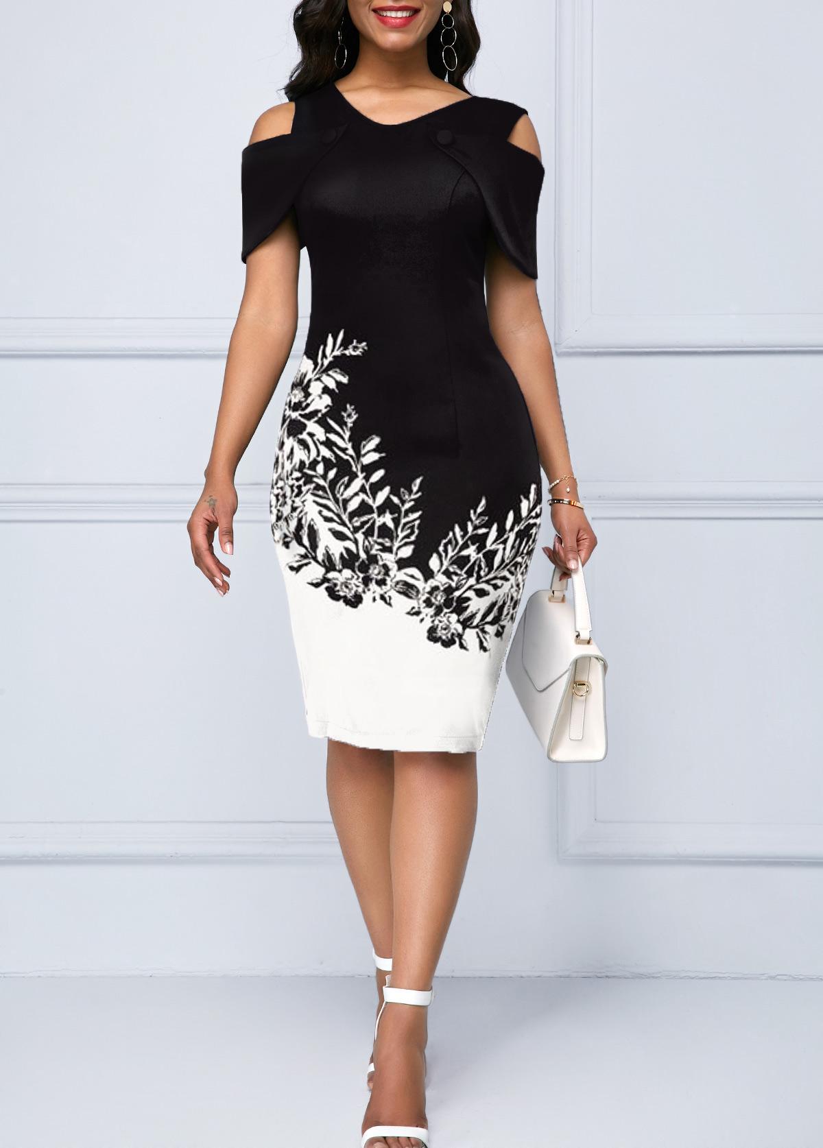 Cold Shoulder Short Sleeve Printed Dress