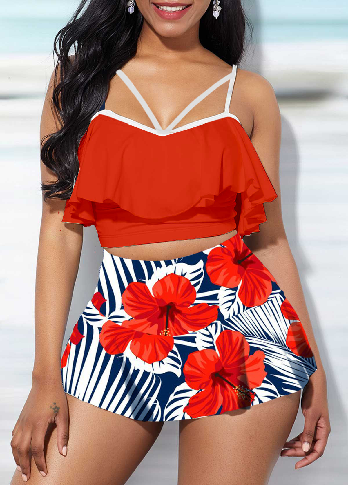 Spaghetti Strap Swimwear Top and Printed Pantskirt