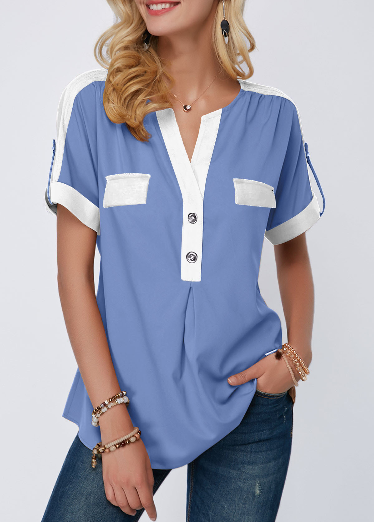 Roll Tab Sleeve Button Detail Split Neck Blouse