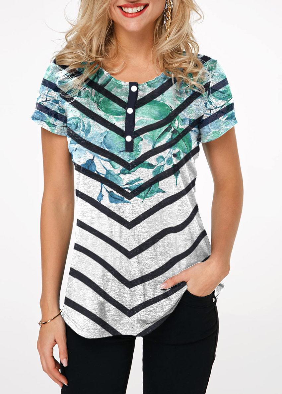 Crinkle Chest Short Sleeve Chevron Print T Shirt
