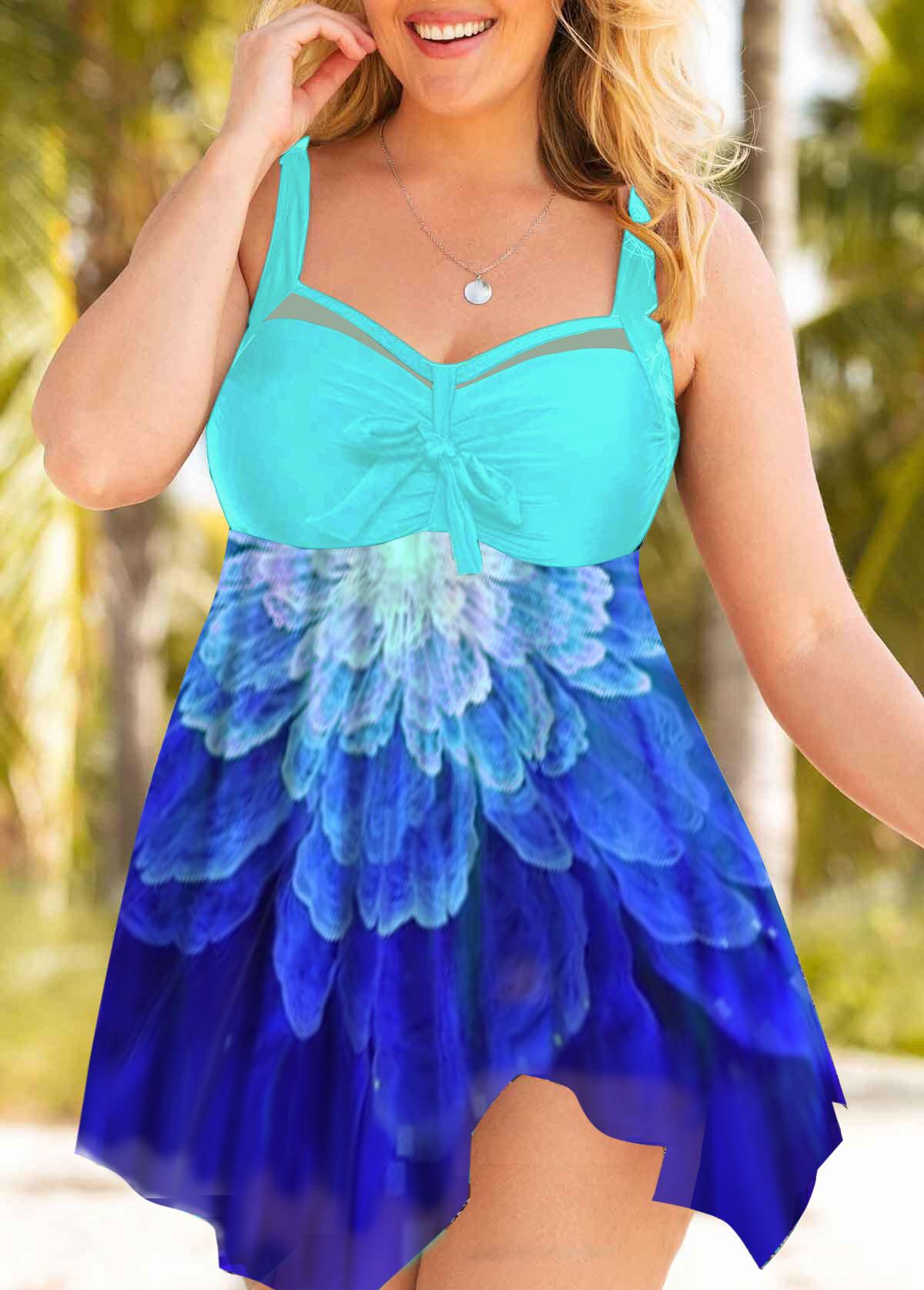 Plus Size Flower Print Mesh Panel Swimdress and Shorts