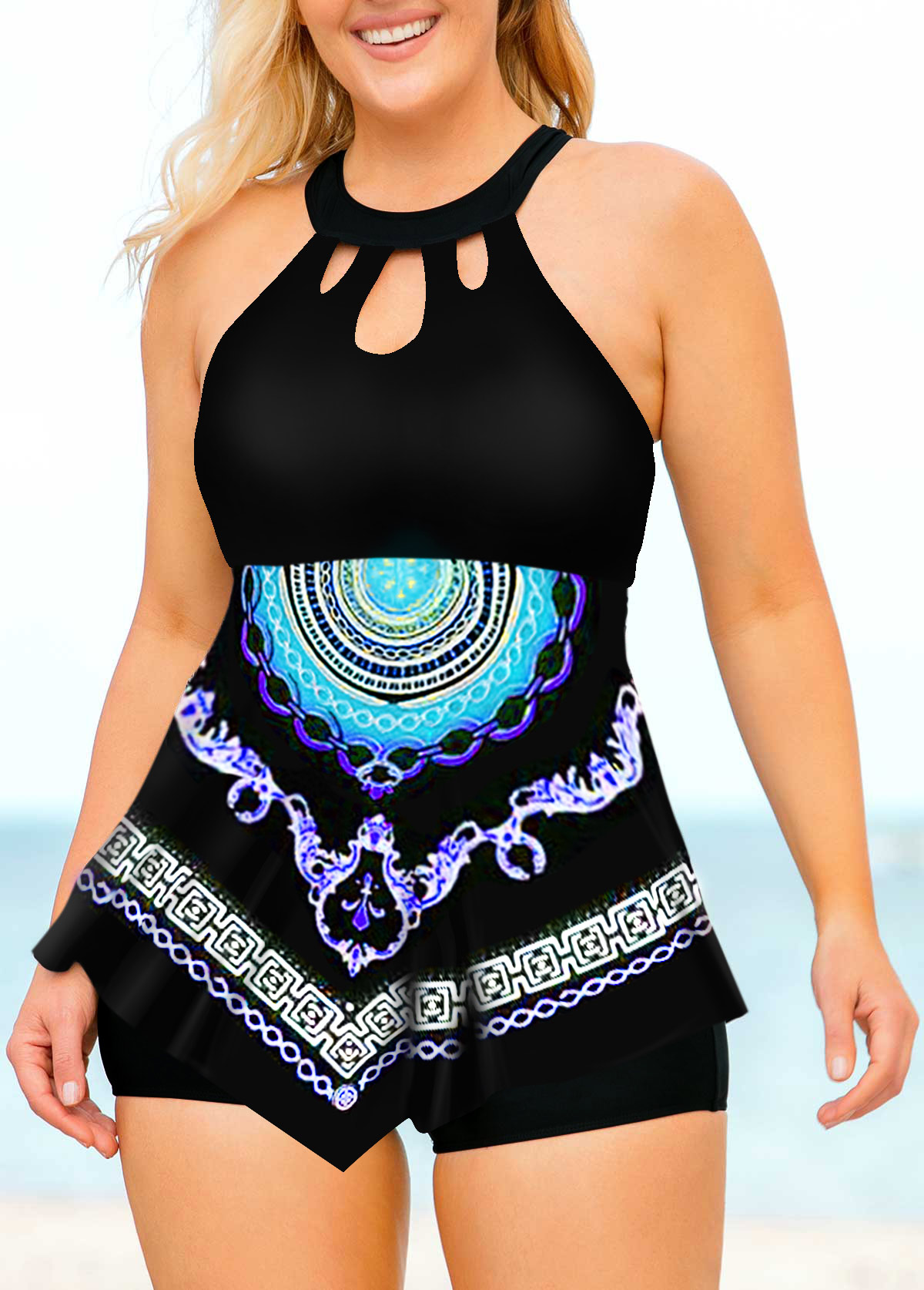 Plus Size Tribal Print Asymmetric Hem Tankini Set